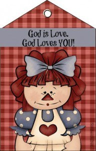 Raggedy reminds the Sandwich Generation from boomers to grandkids that God is love 250 si