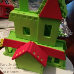 This is what the Sandwich Generation granny nanny got - cute minimalist gingerbread houses - they had a great time tho f