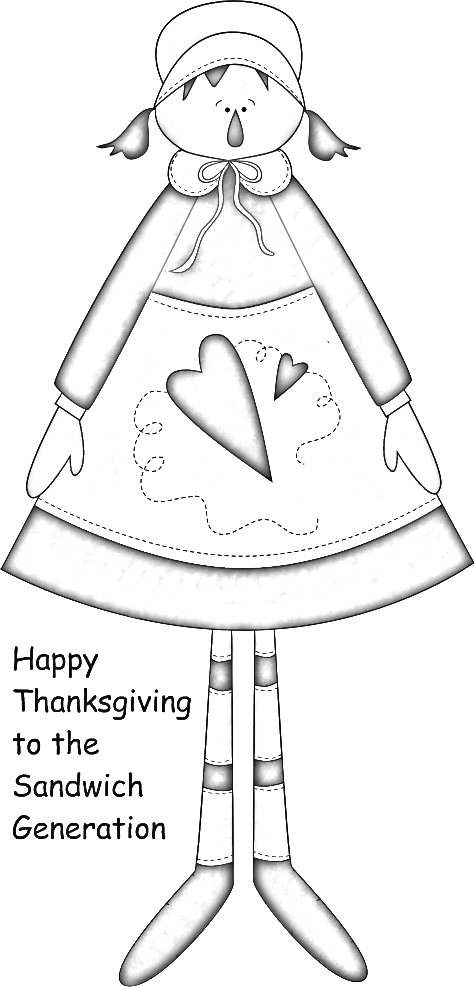 Happy Thanksgiving  cute country clipart coloring page for the Sandwich Generation grandparents and grandkids