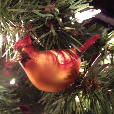 The Sandwich Generation granny nanny loves her aging parents red Kentucky cardinal - a sweet and unique Christmas tree ornament