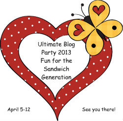 Join Kaye Swain of the Sandwich Generation at the biggest blog party around - the Ultimate Blog Party 2013 at 5 Minutes For Mom -dates