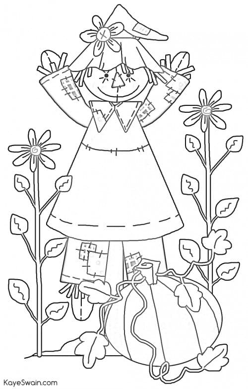 Autumn Halloween scarecrow kids adult printable coloring pages via Kaye Swain Roseville CA blog