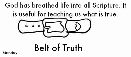 Monday-belt of truth-Kaye Swain Roseville CA shares Bible verse coloring pages Scripture Truth