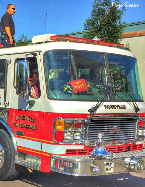 Kaye Swain Roseville real estate agent shares fire truck parade entry Roseville CA
