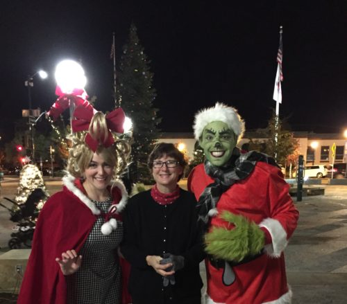 Kaye Swain Roseville Real Estate Agent meeting the Grinch with Cindy Lou