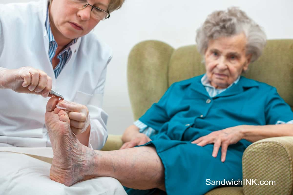 Tips Caring Elderly Parents include podiatrist instead of pedicure