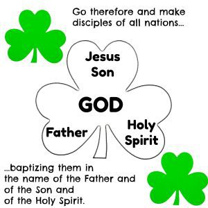 St Patrick Bible verse page Make disciples Name of Father Son Spirit by Kaye Swain Roseville CA