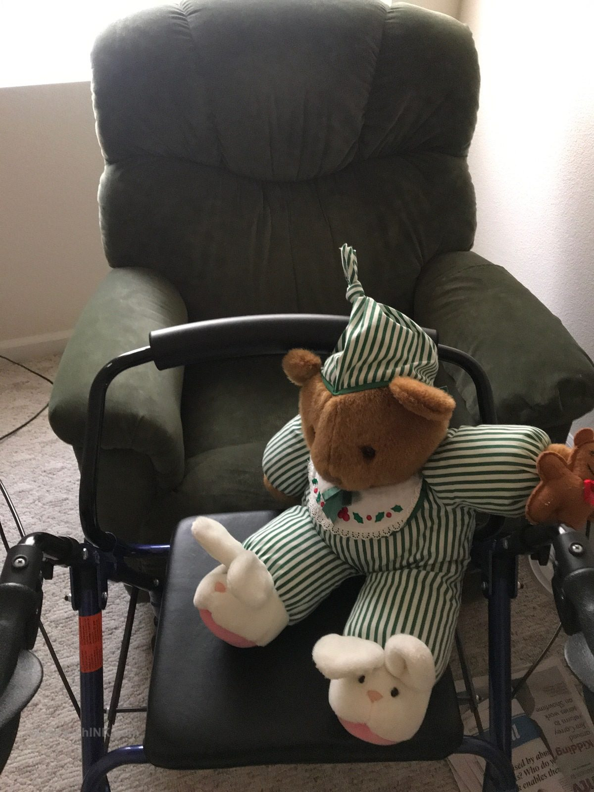 One of the folding walkers elderly parents AND grandkids teddy bears love