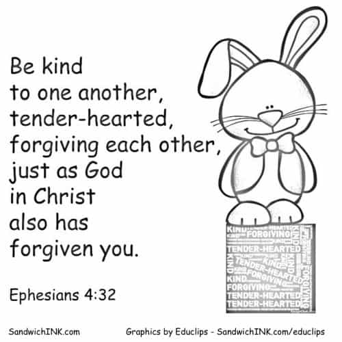 Easter Bunny reminder to be kind Eph 4 32 SandwichINK coloring page final