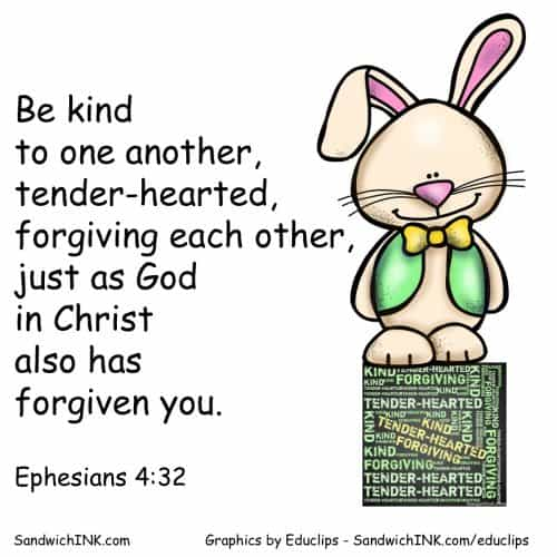 Easter Bunny reminder to be kind Eph 4 32 SandwichINK in color