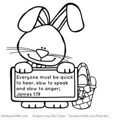 Easter Rabbit ears remind us of James 1 19 Coloring page