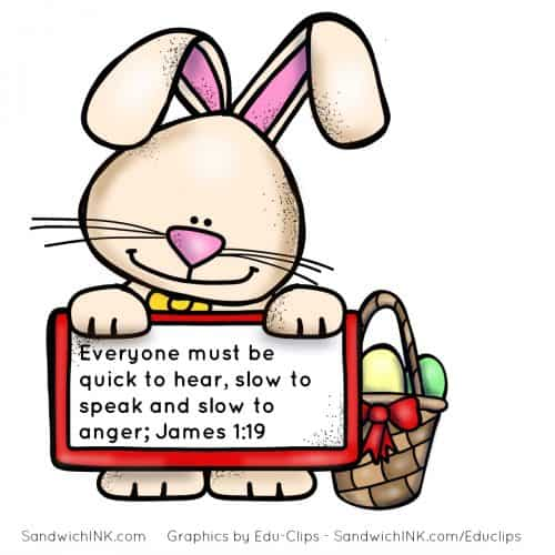 Easter Rabbit ears remind us of James 1 19 Scripture picture jpg