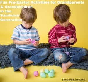 Kids easter activity and crafts: stringing plastic easter eggs